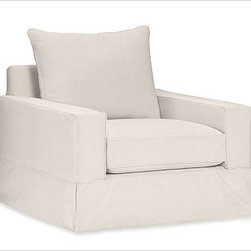 """PB Comfort Square Grand Armchair, Knife-Edge Down-Blend Wrap Cushions, Twill Cre - Sink into the grand armchair just once, and you'll know how it got its name. Designed with an evender seat than our regular PB Comfort Armchair, the eco-friendly grand armchair offers 5"""" of extra width. 42.5"""" w x 42"""" d x 39"""" h {{link path='pages/popups/PB-FG-Comfort-Square-Arm-4.html' class='popup' width='720' height='800'}}View the dimension diagram for more information{{/link}}. {{link path='pages/popups/PB-FG-Comfort-Square-Arm-6.html' class='popup' width='720' height='800'}}The fit & measuring guide should be read prior to placing your order{{/link}}. Choose polyester wrapped cushions for a tailored and neat look, or down-blend for a casual and relaxed look. Choice of knife-edged or box-style back cushions. Proudly made in America, {{link path='/stylehouse/videos/videos/pbq_v36_rel.html?cm_sp=Video_PIP-_-PBQUALITY-_-SUTTER_STREET' class='popup' width='950' height='300'}}view video{{/link}}. For shipping and return information, click on the shipping tab. When making your selection, see the Quick Ship and Special Order fabrics below. {{link path='pages/popups/PB-FG-Comfort-Square-Arm-7.html' class='popup' width='720' height='800'}} Additional fabrics not shown below can be seen here{{/link}}. Please call 1.888.779.5176 to place your order for these additional fabrics."""