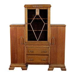 Antiques - Antique Oak Art Deco Bookcase Curio Cabinet Chest - Oak finish