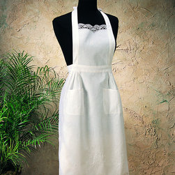 None - Saro Embroidery and Cluny White Cotton Apron - Hand embroidered and cluny lace embellishments decorate this full-size apron. This exciting piece also offers a bright white color and a soft cotton construction.