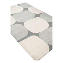 Jaipur Rugs - Hand-Tufted Looped and Cut Wool Gray/Ivory Area Rug (4 x 6) - An urban contemporary styled rug collection that updates your living area with bold patterns. Ranging from soft neutrals to strong colors these rugs could live in any home.