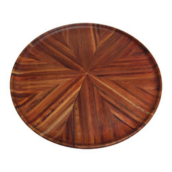 Amboyna Extra Large Platter - Amboyna extra large platter.  Combination of three types of wood: Rosewood, Red Wood and Amboyna wood creates beautiful stripes on eight pie shapes.  Food safe.  Perfect for entertaining or on an ottoman.