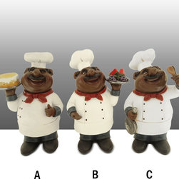 Black Chef Kitchen Statue Table Art Decor Complete Set - Beautiful Black Chef Statue Bistro Chef Table Art Decor.