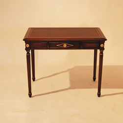 Beidermeier project - Part of a Conservancy project consisting of (3)  Beidermeier influenced pieces. French secretary desk with leather embossed writing blotter gold leaf and brass castings appliques