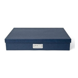 Bigso - Bigso Basix Document Box - Navy, Large - We're not only stacking jewelry this season. Stack up storage and mix and match colors with our navy Basix Document boxes. Store legal size paper, thank you notes, labels, stamps, receipts and artwork. Metal label holders remind you of what's stored inside.
