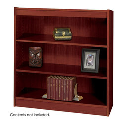"Safco - 3-Shelf Square-Edge Veneer Bookcase - Mahogany - Restore your reason to work from the office with furnishings that make your workplace feel like home. Clean traditional design fits into any office decor. Top-notch right angles and earth-wise sophistication stand out in the Square-Edge Veneer Bookcase. Exquisitely showcase photographs, keepsakes, literature and resources. With the strength of a forest, two shelving options, both 11-3/4"" deep, accommodates storage and display needs. Standard shelves support up to 100 pounds and steel reinforced shelves support 150 pounds. Each bookcase preserves a custom-craft finish with shelf-lock fasteners for easy assembly.; Features: Material: Wood Veneer, Particle Board; Color: Mahogany; Finished Product Weight: 54 lbs.; Assembly Required: Yes; Tools Required: Yes; Limited Lifetime Warranty; Dimensions: 36""W x 12""D x 36 3/4""H"