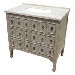 """L&K Designs - 36 Inch Transitional Single Sink Bathroom Vanity - The Driftwood Bay 36"""" Vanity features a distressed grey finish with brown undertones with a rectangular undermount bowl. This cabinet has two funtional drawers and two funtional doors. The drawers utilize a full extension ball bearing drawer guide.  Dimensions: 36""""W X 22""""D X 36""""H (Tolerance: +/- 1/2""""); Counter Top: Cream Marble; Finish: Distressed Grey; Features: 2 Doors, 2 Drawers; Hardware: Antique Burnished Brass; Sink(s): 10.5"""" X 18"""" Rectangular Undermount Bisque Ceramic; Faucet: Pre-Drilled for Standard Three Hole 8"""" Center (Not Included); Assembly: Fully Assembled; Large Cut Out in Back for Plumbing; Included: Cabinet, Sink; Not Included: Faucet, Backsplash"""
