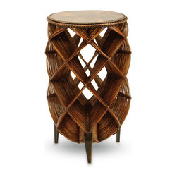 Palecek - Orbit Penshell Table - Table base woven of hand-split bamboo and rattan with bamboo legs. Inlaid penshell top.
