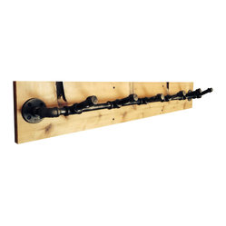 Ambrosius Designs - Industrial Pipe Coat Rack, 5 Hook - Black steel pipe mounted on a cedar plank.  Simple and practical.  Each rack is made to order.  Wood grain may vary slightly.