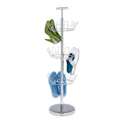 Honey Can Do - 3 Tier Chrome Shoe Stand - Chrome finish 3 tier shoe stand. Holds 18 pair of shoes. . Holds 18 pair of shoes. 39.3 in. H x 11.4 in. D