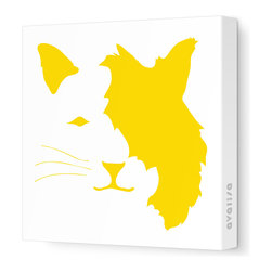 "Avalisa - Animal Face - Cat Stretched Wall Art, 28"" x 28"", Yellow - If you're a cat person who can't abide too-cute kitty stuff, let it be known with this art piece. Clever design, enigmatic expression and the sleek look of stretched, unframed fabric combine for a fun yet sophisticated style statement."