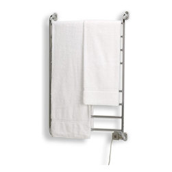 Warmrails - Warmrails Kensington Towel Warmer (Satin Nickel) - Finish: Satin NickelIncludes all hardware and instructions. Wall mounted. Hardwired and softwired combination. Illuminated On/Off switch. Filatherm dry element, 105 watt rating, 120v AC. UL and cUL listedSoftwired Version:. Plug-in, minimal installation. Plugs into standard electrical outlet. 7 ft. power cord, entry on right sideHardwired Version:. Professional installation. Direct wired to standard electrical wall box. 24 in. W x 5.75 in. D x 39.5 H. Instruction Manual