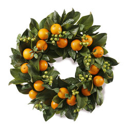 """Winward Designs - Winward Designs Magnolia Leaf & Oranges Wreath 24"""" Diameter - This 24 inch diameter wreath features faux oranges and rose hip berries clustered throughout a bed of extremely realistic faux magnolia leaves. It's a very organic, natural look that will fit nicely into pretty much any type of home decor environment."""