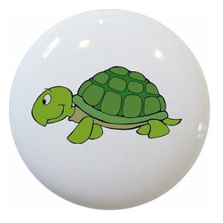 Carolina Hardware and Decor, LLC - Turtle Ceramic Cabinet Drawer Knob - New 1 1/2 inch ceramic cabinet, drawer, or furniture knob with mounting hardware included. Also works great in a bathroom or on bi-fold closet doors (may require longer screws).  Item can be wiped clean with a soft damp cloth.  Great addition and nice finishing touch to any room.