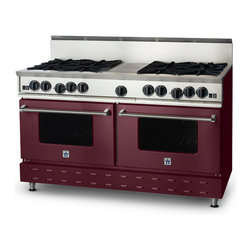 "60"" BlueStar RNB Range - 60"" RNB Gas Range with 8 Burners and Griddle can come in 190 different colors. This burner configuration is just one of the many options."