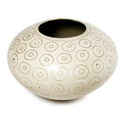 Vuyisa Potina - Nobomi Cream Circle Smoke Pot - Vuyisa Potina's work is a delicate mixture of traditional and modern.  This decorative stoneware bowl exemplifies that, the design is contemporary and the smoke firing methods are a nod to his Xhosa heritage. This lovely bowl has been named Nobomi, which is Xhosa for life. The light cream exterior is dotted with a double circle pattern, to which the smoke firing process imparts unusual shading, letting the beauty of the motif show through. Vuyisa personally crafts each piece, ensuring that no two are exactly alike.