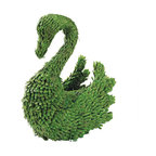 """EttansPalace - Swan Green Topiary Garden Sculpture Statue - From the Latin word for """"garden,"""" a topiary epitomizes all that is best in elegant outdoor decor! And now you can bring the sculpted topiaries of the European elite to your very own garden with this Swan sculpture that require no trimming or watering to maintain his bold shape and vibrant hue. Our elegant art sculpture begins with sturdy a metal frame that is then covered with lush, fade-resistant, faux leafy evergreen foliage for an amazingly natural, no maintenance look. Place this gorgeous to best advantage around your landscape with its included easy-to-use metal ground stakes! Swan: 17.5""""W x 8""""D x 19.5""""H. 3 lbs."""