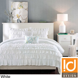 ID-Intelligent Designs - ID-Intelligent Design Demi 3-piece Comforter Set - This impressive comforter set easily adds style and comfort to your bedroom. Featuring beautiful flowing ruffles, this charming comforter has a solid reverse pattern for a clean look.