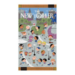 """Grandin Road - The New Yorker Union Square Beach Towel - Large, colorful beach towel featuring the """"Sailboats"""" cover from The New Yorker magazine. Made of 100% ring-spun cotton, woven to 450 gsm. Generous 40"""" x 70"""" size. Reverses to a solid-color back. Preshrunk cotton ensures towel retains its full size. Take a vintage cover from The New Yorker to the sea shore, in the form of a soft terry cloth towel, featuring the """"Sailboats"""" cover from April 18, 2011. This cerulean scene depicts a balcony still life with a fish, a wine glass, and a sketchbook looking out to a sailboat on the water. Spread out this large and colorful terry towel on your own balcony, or at the pool, park, or beach and create your own scene - or give one as a gift. Check out the other designs in The New Yorker Beach Towel collection.. . . . . Double-stitched along all edges for durability. Machine wash cold, tumble dry low. Wash with like colors in cold water; do not bleach. Imported."""