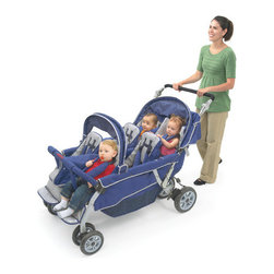 Angeles - SureStop Folding Bye-Bye 6-Passenger Tandem Stroller - Features: -Stroller.-No-roll technology with the comfort-grip brake system.-Folds in three easy steps for storage.-Sturdy tubular steel frame is lightweight for easy maneuvering.-Fade-resistant fabric is water-repellent yet easy to clean.-Comfortable, padded reclining seats each hold up to 40 lbs.-Removable canopies.-Ample storage compartments.-Locking foot pedal brake for extra safety.-Conforms to ASTM F833-07A safety standard.-All-terrain tires for any surface.-For ages 6 months and up.-Product Type: Standard Stroller.-Collection: Bye Bye Stroller.-Color: Blue.-Distressed: No.-Powder Coated Finish: No.-Gloss Finish: No.-Frame Material: Metal -Frame Material Details: Steel..-Number of Items Included: 1.-Reflective Surfaces: No.-Footrest: Yes -Adjustable Footrest: No..-Shoulder and Neck Support: Yes.-Insect Screen: No.-Rain Cover: No.-Viewing Window: No.-Foldable: Yes -One-hand Folding: No.-Fold Lock: Yes..-Carrying Handle: No.-Recommended Age: Infant; Toddler.-Bicycle Compatible: No.-Car Seat Included: No.-Universal Car Seat Adapter Included: No.-Seating Capacity: 6.-Seat and Bassinet Included: No.-Orientation: Forward facing.-Reversible Handle: No.-Adjustable Handle Height: No.-Canopy: Yes -Collapsible Canopy: Yes.-Removable Canopy: Yes..-Removable Fabric: Yes.-Reclining Seat: Yes.-Number of Wheels: 8.-Swivel Front Wheel: Yes.-Locking Wheels: No.-Hand Brake: Yes.-Harness: Yes.-Grab Bar: Yes.-Storage Included: Yes -Storage Under Seat: Yes.-Parent Console: Yes..-Tray Included: No.-Travel Bag Included: No.-Weight Capacity: 240.-Swatch Available: No.-Commercial Use: Yes.-Recycled Content: No.-Eco-Friendly: No.Dimensions: -Overall Height - Top to Bottom: 40.5.-Overall Width - Side to Side: 33.-Overall Depth - Front to Back: 57.-Overall Product Weight: 95.Assembly: -Assembly required.-Assembly Required: Yes.-Additional Parts Required: No.Warranty: -3 Year warranty.-Product Warranty: 3 Years.