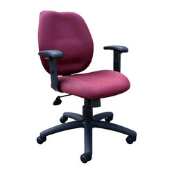 """BOSS Chair - Task Chair w Adjustable Arms in Burgundy - Mid-back styling with firm lumbar support. Elegant styling upholstered with commercial grade fabric. Sculptured seat cushion made from molded foam that contour to the shape of your body. Ratchet back height adjustment mechanism which allows perfect positioning of the back cushion and lumbar support. Optional adjustable height armrests. Large 27"""" nylon base for greater stability. Pneumatic gas lift provides instant height adjustment of the seat. Adjustable tilt tension that accommodates all different size users. Hooded double wheel casters. Upright locking position. Cushion color: Burgundy. Base/wood: Black. Seat size: 20 in. W x 19 in. D. Seat height: 18.5 in. -22 in. H. Arm height: 25.5 in. -32 in. H. Overall dimension: 26 in. W x 27 in. D x 36.5-42 in. H. Weight capacity: 250 lbs"""