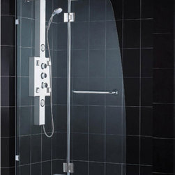 "DreamLine - DreamLine AquaLux Frameless Hinged Shower Door and SlimLine 34"" by - A shower kit from DreamLine delivers a complete solution for a bathroom remodel or tub-to-shower conversion project. This kit combines an AQUA LUX shower door with a coordinating SlimLine shower base. The AQUA LUX shower door delivers European styling with a gracefully curved silhouette for a uniquely modern look. A SlimLine shower base completes the transformation with a modern low profile design. Items included: AquaLux Shower Door and 34 in. x 60 in. Single Threshold Shower BaseOverall kit dimensions: 34 in. D x 60 in. W x 74 3/4 in. HAquaLux Shower Door:,  46 in. W x 72 in. H ,  5/16 (8 mm) clear tempered glass,  Chrome or Brushed Nickel hardware finish,  Frameless glass design,  Out-of-plumb installation adjustability: No,  Hinged door and stationary side glass panel,  Self-closing solid brass hinges,  wall mount brackets and support bar for stationary glass,  Convenient towel bar on the outside panel,  Solid brass wall mount self-closing hinges in.,  Stationary panel: 21 3/8 in.,  Reversible for right or left door opening installation,  Material: Tempered Glass, Aluminum ,  Tempered glass ANSI certified34 in. x 60 in. Single Threshold Shower Base:,  High quality scratch and stain resistant acrylic,  Slip-resistant textured floor for safe showering,  Integrated tile flange for easy installation and waterproofing,  Fiberglass reinforcement for durability,  cUPC certified,  Drain not included,  Center, right, left drain configurationsProduct Warranty:,  Shower Door: Limited 5 (five) year manufacturer warranty ,  Shower Base: Limited lifetime manufacturer warranty"