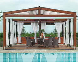 Pergotenda 120 - The combination of wood and outdoor curtains make this a classic outdoor structure. Whether you decide to use this as an outdoor dining space or maybe a poolside lounge area, I sure know that had I the resources, this would be in my backyard.