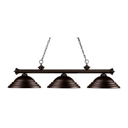 Z-Lite - Z-Lite 3 Light Billiard - Elegant and traditional best describes this beautiful three light fixture. Finished in oil rubbed bronze and paired with bronze metal shades, this three light fixture would be equally at home in the game room, or anywhere else in the house needing a touch of timeless charm. 72 inches of chain per side is included to ensure a perfect hanging height.