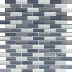 Vintrav Slate Grey 1/2 in. x 2 in. Glass Mosaic Tiles, Sample - Vintrav Slate Grey 1/2 in. x 2 in. Glass Mosaic Tiles for Bathroom Floor, Kitchen Backsplash, unmatched quality.