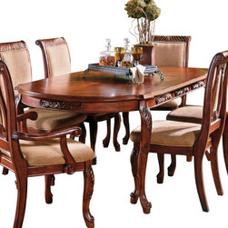 "Steve Silver - Steve Silver Harmony Traditional 66x42 Oval Dining Table in Cherry - Intricate Georgian-Style Carvings Give the Harmony Dining Collection an Antique Feel, Adding Warmth and Formality to Any Dining Area. The 42""W x 66""-84""L x 30""H Table has a Cherry Finish and Carvings Decorating the Edge of the Tabletop and the Legs. This Stunning Piece Comfortably Seats Six when the Removable 18"" Leaf is in Place.  What's included: Dining Table (1)."