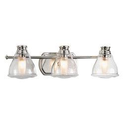 Progress Lighting - Progress Lighting P2812-15WB 3-Light Bathroom Lighting with Bulb - Progress Lighting P2812-15WB 3-Light Bathroom Lighting with Bulb with Clear Seeded Glass Shades
