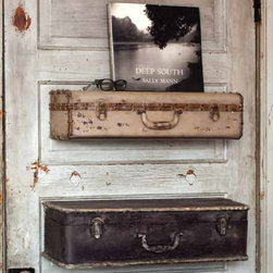 Vintage Reproduction Metal Suitcase Shelves - Whimsical and functional, these suitcase shelves are not only beautifully vintage but provide hidden storage as the lid unlatches and opens to reveal extra storage space for seasonal items or mementos. These vintage inspired suitcase shelves can also be hung open, for an open lid display, to showcase everything from greenery, books, photos and more.