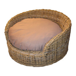WickerParadise - Wicker Dog Bed: Medium Size - Your loyal companion deserves to sleep in comfort, too. The natural wicker and cozy cushion of this fabulous dog bed keep your feline friend extra safe and snug all night.