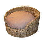 WickerParadise - Wicker Dog Bed - Your loyal companion deserves to sleep in comfort, too. The natural wicker and cozy cushion of this fabulous dog bed keep your feline friend extra safe and snug all night.