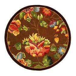 Safavieh - Large Print Floral Rug in Brown (3 ft. Round) - Choose Size: 3 ft. Round. The vibrant shades of autumn are forever preserved as part of this floral patterned wool rug, a colorful way to enhance any decor. Finished in chocolate brown with auburn, green and gold tone accents, the rug is hand hooked for durability and is available in your choice of sizes. Hand hooked. Made of Wool