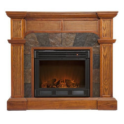 "Home Decorators Collection - Mission Fireplace - Rich wood grain, recessed panels and crown molding characterize our Mission Fireplace. The arched faux tile frame around the firebox is bordered by wood trim. With its Mission oak finish, this ventless fireplace offers a stately yet rustic look. Fold up the collapsible panel to transform it from a wall fireplace into a corner fireplace.  The electric fireplace version of the Mission Fireplace features realistic LED flames and embers; adjust both temperature and brightness with the included remote control. The gel fireplace version offers the snap and crackle of a wood burning fireplace with none of the mess. It can hold up to three cans of gel fuel simultaneously (fuel not included). Collapsible panel allows use on a flat wall or in a corner. Accommodates a flat panel television of up to 47""W. Mantel supports up to 85 lbs. Electric version includes 6' cord for plugging into a standard outlet. Electric version's remote control takes one CR2025 battery, included. Gel version includes cement logs, faux coal cinders and screen kit."