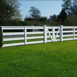 Special Connecticut Four Rail Fence - This unique four rail fence features a special top rail and has an eye-catching v-shaped motif that accentuates the double gate.