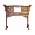 Golden Lotus - Vintage Chinese Floral Carved Wood Screen Dress Hanger - This special screen has a traditional Chinese dress hanger image. This type of screen was used as a divider in between the bathroom and the other room in the old Chinese house. Clothes and fabric were placed on the stand. There are hand carved floral patterns around. It can be an interesting room divider or screen for the modern home.