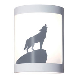 A19 - Lone Wolf Wall Sconce - A classic image of untamed nature, this wolf stands proudly atop a boulder, calling to his pack. The image is reverse-painted on a translucent white film and framed in ceramic. The effect is refreshing yet dramatic. The frame is also available in a number of colors and faux finishes ranging from rustic metals to rich glossy glaze.