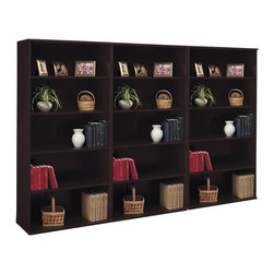 Bush - Bush Series C 5 Shelf Wall Bookcase in Mocha Cherry - Bush - Bookcases - WC12914PKG - Bush Series C Open 5 Shelf Double Wood Bookcase in Mocha Cherry