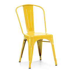 Design Lab MN - Tolix Style Stackable Glossy Yellow Steel Side Chair, Set of 4 - The Dreux steel stackable side chair is a fantastic designed chair to add to any restaurant, bistro or coffee house. This chair is produced in rolled steel which can withstand any high traffic area. It also can be stacked to save space if needed. Produced by Design Lab MN, this product is manufacturer to highest standards in the furniture industry.