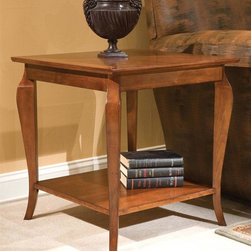 Fairfield Chair Company - Square Curved-Leg Wood Lamp Table in Cherry F - One shelf. Made from wood. 24 in. W x 24 in. D x 25 in. H