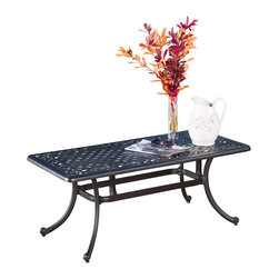Great Deal Furniture - Van Ness Outdoor Black Sand Coffee Table - The Van Ness Outdoor Coffee Table is a perfect solution for any of your outdoor entertainment needs. Made from cast aluminum, this coffee table is easy to move around and store when not in use. Enjoy all the benefits of this coffee table in the beautiful outdoors.