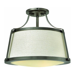 Hinkley Lighting - Hinkley Lighting 3521AN Foyer Charlotte - Charlotte is an updated traditional design featuring a richly textured off-white fabric shade captured by wide solid metal uprights and trim rings. The domed bottom diffuser is captured inside a heavy trim ring and held by cast decorative knobs for a refined vintage touch.