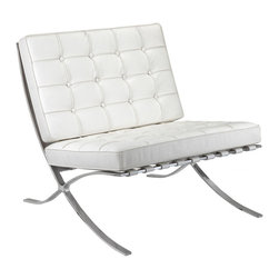Meelano - M331 Barcelona Lounge Chair in White Leather - A pinnacle of modern design, this Mies van der Rohe-inspired lounge chair is a design classic. With its sleek stainless steel frame and Italian leather upholstery, the chair is a perfect centerpiece for your living room or office. Let the design speak for itself or try pairing it with a chic minimalist coffee table and accessories.
