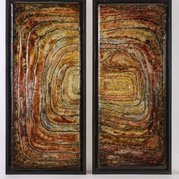"""IMAX CORPORATION - Collage Glass Wall Decor - Set of 2 - The Collage Glass Wall Decor features earthy tones of glass that are set in a primitive and unique pattern. Grouped together or separated, these eye-catching home accents are finely crafted and will add a stylish focal point to your space. Set of 2 in various sizes measuring around 35.25""""L x 4.75""""W x 18.25""""H each. Shop home furnishings, decor, and accessories from Posh Urban Furnishings. Beautiful, stylish furniture and decor that will brighten your home instantly. Shop modern, traditional, vintage, and world designs."""