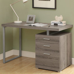 Monarch - Dark Taupe Reclaimed-Look Left Or Right Facing 48in.L Desk - This simple yet practical in. hollow-core in. desk is the perfect addition to your home office. The dark taupe reclaimed wood-look finished desk can conveniently be placed on the left or right side offering you multi functionality. The mobile side drawers provide you with space to store office supplies, papers, books, files folders, and plenty more. Use the spacious top for your computer, a lamp and even some pictures. This 48 in. long desk with fit in perfectly into any space.