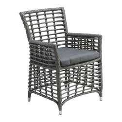 Zuo Modern Contemporary, Inc. - Sandbanks Dining Chair Grey (set of 2) - The wide, rectangular weave and simple cushion of the Sandbanks chair are a nice foil to the slimmer lines of the matching table. Its aluminum frame is water resistant for outdoor use. Sold separately.