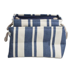 Origin Crafts - Hudson stripe blue rectangular crunch bag set/2 - Hudson Stripe Blue Rectangular Crunch Bag Set/2 Nautical blue stripe bags fold for for effortless storage when not in use. Cotton rope handles allow for easy carrying when bag is full. Rectangular shape is great for storing pillows, magazines, beach accessories, clothing, toys, and more. wipe clean