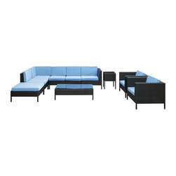 Modway Furniture - Modway La Jolla 9 Piece Sectional Set in Espresso Light Blue - 9 Piece Sectional Set in Espresso Light Blue belongs to La Jolla Collection by Modway Shine with hidden brilliance with this powerful force of an outdoor living arrangements. Finely constructed espresso rattan seating sectionals with all-weather light blue fabric cushions give a sense of space and roominess that allow for true flexibility and comfort. Aim higher and give thanks and appreciation to picture perfect days spent outside. Set Includes: One - La Jolla Outdoor Wicker Patio Armless Chair One - La Jolla Outdoor Wicker Patio Coffee Table One - La Jolla Outdoor Wicker Patio Corner Section One - La Jolla Outdoor Wicker Patio Left Arm Section One - La Jolla Outdoor Wicker Patio Loveseat One - La Jolla Outdoor Wicker Patio Ottoman One - La Jolla Outdoor Wicker Patio Side Table Two - La Jolla Outdoor Wicker Patio Armchairs Armless Chair (1), Coffee Table (1) , Corner Section (1), Left Arm Section (1), Loveseat (1), Ottoman (1), Side Table (1) , Arm Chair (2)