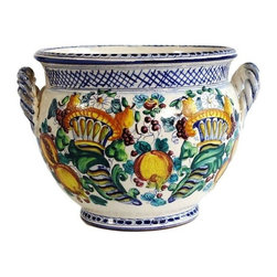 Pre-owned Italian Painted Ceramic Pot - A charming hand-painted Italian ceramic jar with handles. Load it up with lemons for an added zest!